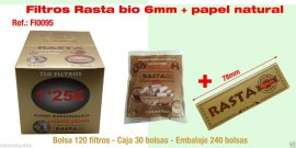 50 bolsas Filtros para cigarrillos Rasta Slim 6mm Natural 120 FILTROS + papel de fumar natural .