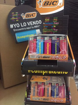 1 expositor Minibic j25 frases . Nuevos. 100 mecheros HASTAGH