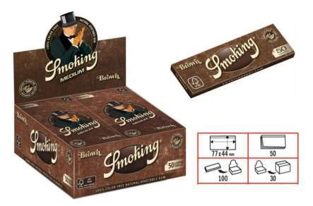 1 caja con 100 libritos Papel Smoking brown. 1 1/4. 78mms.